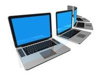 Laptop-Computer getrennt auf Weiß Stockbilder