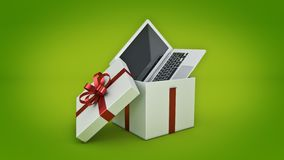 Laptop computer. Gift box concept. 3D rendering Stock Image
