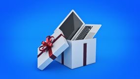 Laptop computer. Gift box concept. 3D rendering Stock Photo
