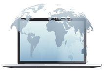 Laptop computer with globe hologram Royalty Free Stock Image