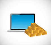 Laptop computer and gold bars concept isolated Royalty Free Stock Photos