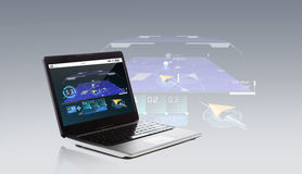 Laptop computer with gps navigator map on screen Stock Image