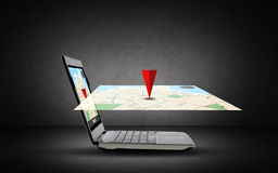 Laptop computer with gps navigator map on screen Stock Images