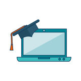 Laptop computer with graduation hat isolated icon Stock Photography