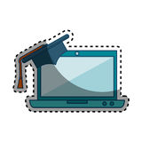 Laptop computer with graduation hat isolated icon Royalty Free Stock Photography