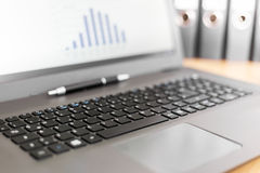 Laptop computer with graph on screen royalty free stock photography