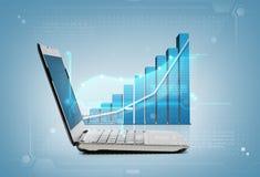 Laptop computer with graph Stock Photos