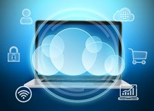 Laptop computer and a great cloud with icons. Stock Photos