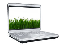 Laptop Computer With Green Grass Stock Image