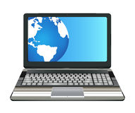 Laptop computer with half earth globe on screen. A laptop computer with half earth globe on screen Stock Photo
