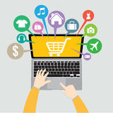 Laptop Computer and hand with basket online shop, ecommerce concept Stock Photo