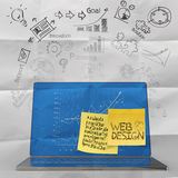 Laptop computer with hand drawn web design Royalty Free Stock Images