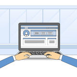 Laptop Computer Hands Type Working Using Computer. Vector Illustration royalty free illustration