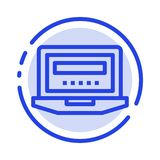 Laptop, Computer, Hardware, Education Blue Dotted Line Line Icon stock illustration