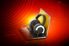 Laptop computer with head phone Stock Image