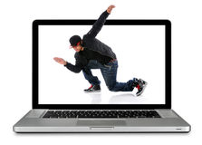 Laptop Computer With Hip Hop Dancer. Modern laptop computer with hip hop dancer over white background Stock Images