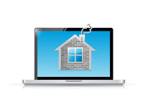 Laptop computer and home illustration design Stock Photos