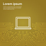 Laptop Computer Icon Over Computer Chip Moterboard Background Banner Royalty Free Stock Photography