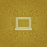 Laptop Computer Icon Over Computer Chip Moterboard Background Banner Royalty Free Stock Image