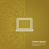 Laptop Computer Icon Over Computer Chip Moterboard Background Banner Stock Images