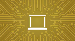 Laptop Computer Icon Over Computer Chip Moterboard Background Banner Stock Image