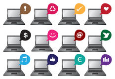 Laptop Computer Icon Set Stock Images