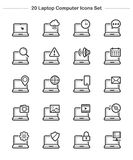 Laptop Computer icons set, Line Thickness icons Stock Photos