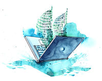 Laptop. Computer in the image of a floating sailer Stock Images
