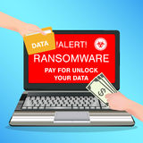 Laptop computer infected ransomware virus pay for unlock data. A laptop computer infected ransomware virus pay for unlock data Stock Image