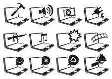 Laptop Computer and Internet Vector Icon Set Stock Photography