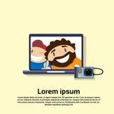 Laptop Computer Internet Web Call Virtual Meeting Royalty Free Stock Photos