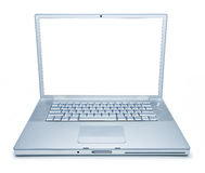 Laptop Computer Isolated. A blue toned metallic laptop computer with a blank screen isolated on white Royalty Free Stock Images