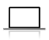 Laptop computer isolated on white. 3D blank laptop computer isolated on white with 2 clipping path : one for global scene and one for the screen Royalty Free Stock Photos
