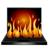 Laptop Computer Keyboard Fire. An illustration of a laptop computer with the keyboard on fire - tall red and yellow flames Royalty Free Stock Images