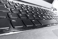 Laptop computer keybord in black and white.  for technological concept. Fn and alt keys in evidence Royalty Free Stock Photo