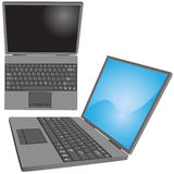 Laptop computer keys keyboard top side views. Top and side views of a laptop computer with key labels on keyboard and copy space on screen vector illustration