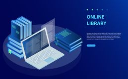 Laptop computer with library books. Online training courses, specialization, university studies. royalty free illustration