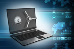 Laptop computer with lock for protection. In color background Stock Photo
