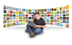 Laptop Computer Man with Image Gallery Stock Photography