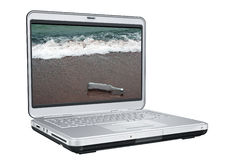 Laptop Computer With Message. In the bottle On the Screen stock illustration
