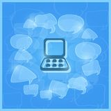 Laptop Computer in the Middle of Transparent Speech Clouds Royalty Free Stock Image