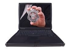 Laptop-Computer mit Abzeichen Stockbilder