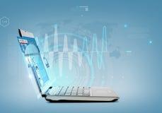 Laptop-Computer mit Nachrichten auf Schirm Stockfotografie