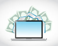 Laptop computer and money around. illustration Royalty Free Stock Photography