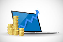 Laptop Computer and Money Royalty Free Stock Photography