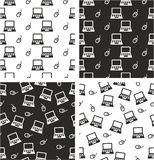 Laptop & Computer Mouse Big & Small Aligned & Random Seamless Pattern Set Royalty Free Stock Photography
