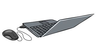 Laptop and computer mouse Stock Image
