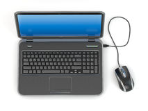 Laptop and computer mouse Stock Photography