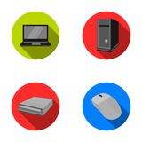 Laptop, computer mouse and other equipment. Personal computer set collection icons in flat style vector symbol stock Stock Photos