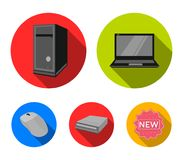 Laptop, computer mouse and other equipment. Personal computer set collection icons in flat style vector symbol stock. Illustration Royalty Free Stock Photography